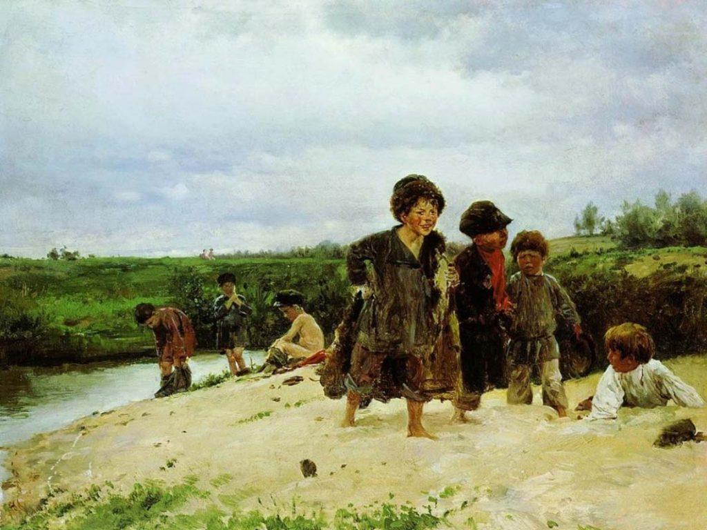 В. Е. Маковский «От дождя», 1887 © Ульяновский областной художественный музей