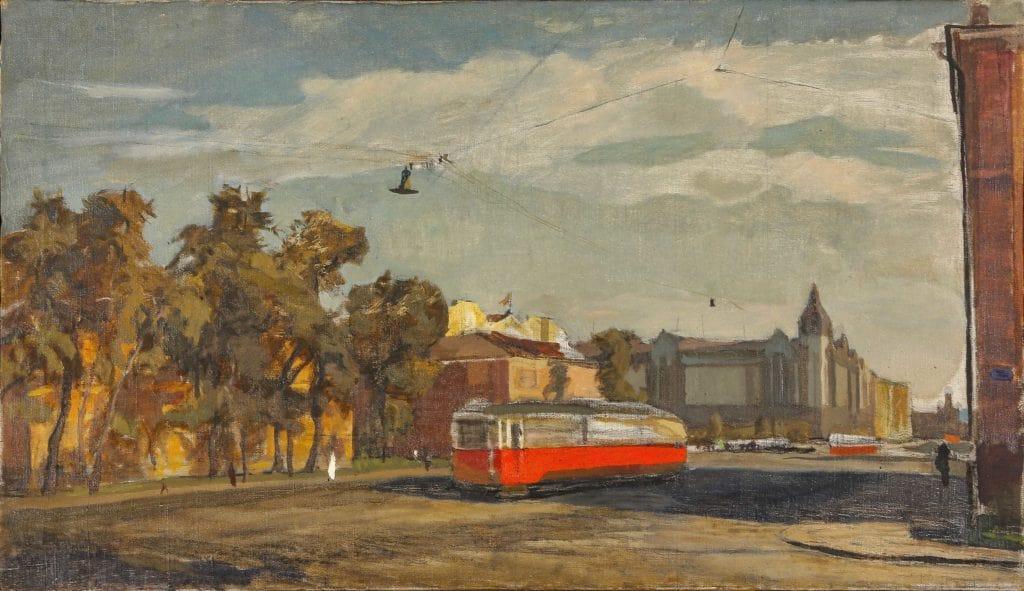 Павел Костров «Городской пейзаж с троллейбусом, 1930-e. Холст, масло © МИСП