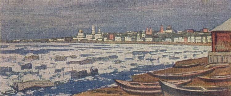 П.И. Петровичев «Ледоход», 1912 © Тверская областная картинная галерея