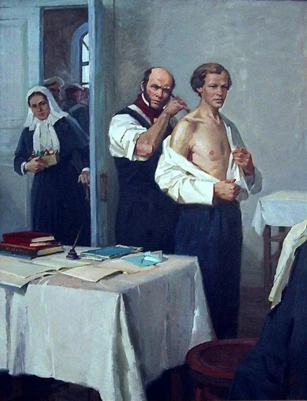И.А. Тихий «Н.И. Пирогов осматривает больного Д.И. Менделеева», 1855 © Музей-усадьба Н.И. Пирогова, Винница
