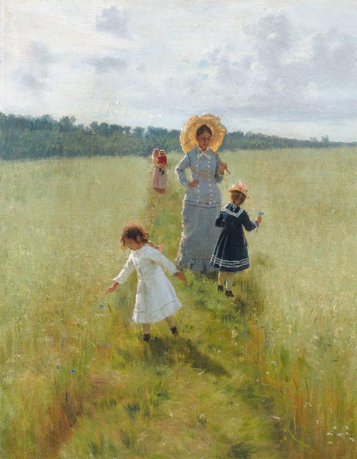 Илья Репин «На меже: Вера Репина с детьми идет по меже», 1879 © Государственная Третьяковская галерея