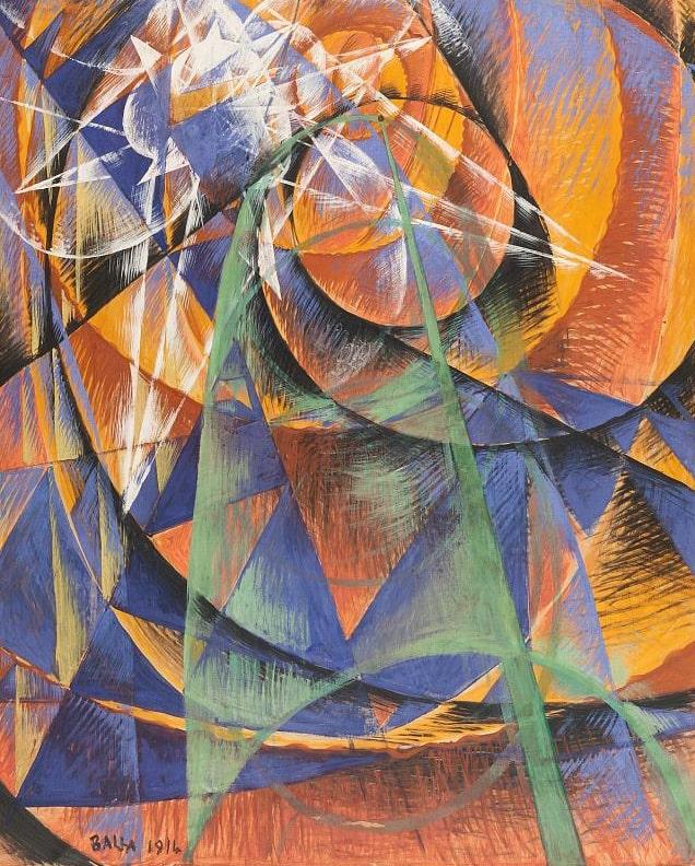 "Джакомо Балла ""Меркурий проходит перед солнцем"",1914. Холст дублированный, темпера. Коллекция Джанни Маттиоли, Милан ©ГРМ"