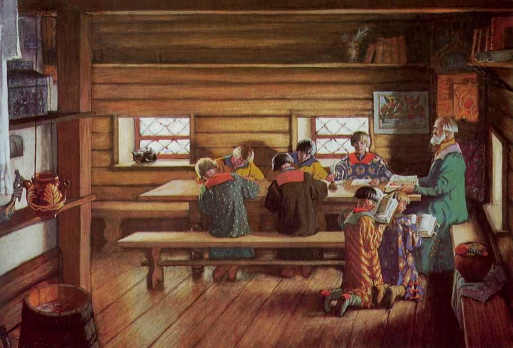 Борис Кустодиев «Земская школа в Московской Руси», 1907 © Государственный Русский музей