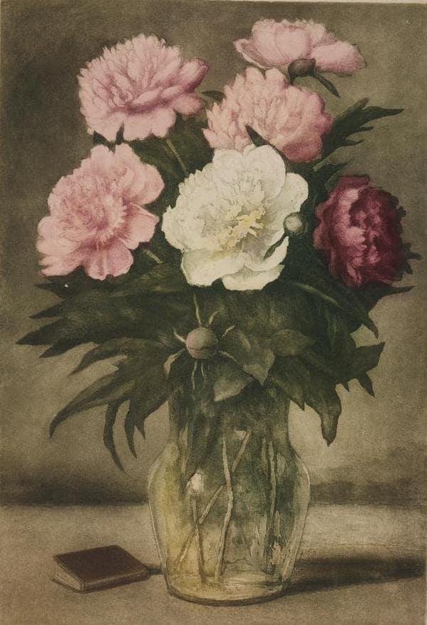 М.А. Добров «Пионы», 1944-1954. Цветная акватинта, офорт © ГТГ