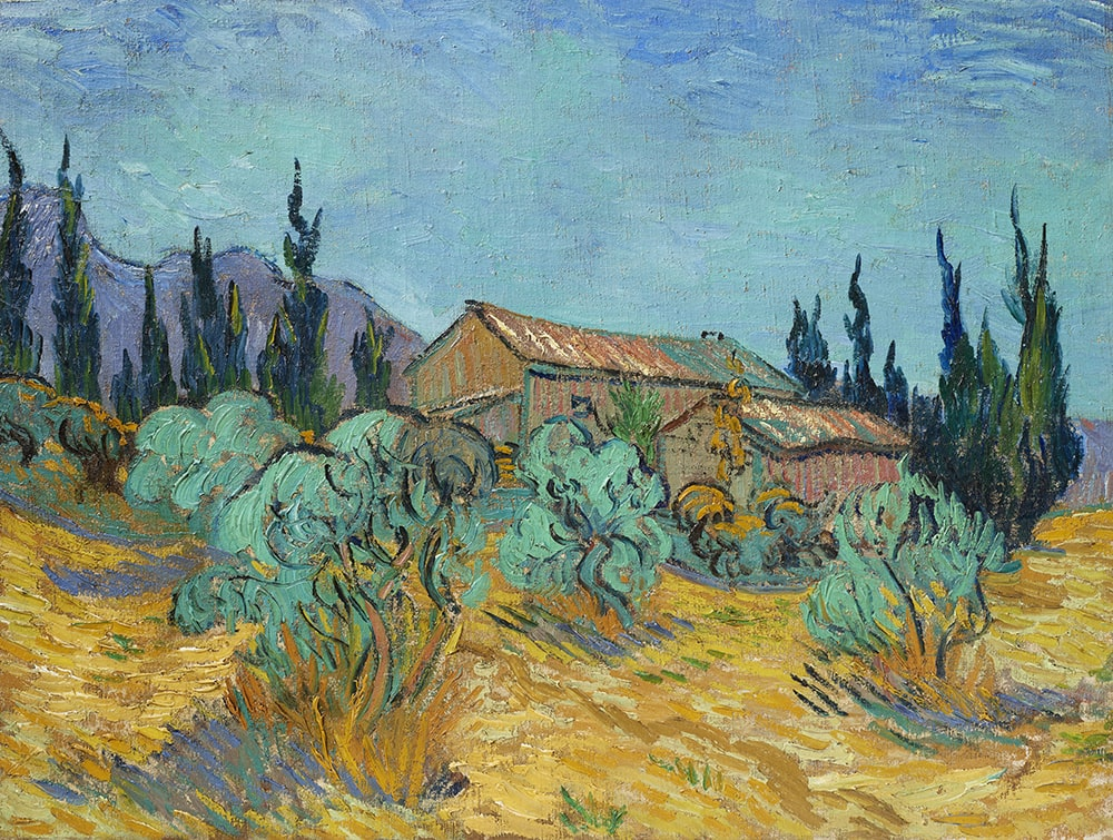 Винсент Ван Гог «Деревянные хижины среди оливковых деревьев и кипарисов», написано в Сен-Реми в октябре 1889 года. Оценка по запросу (порядка $40 млн) © Christie's