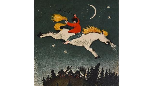 Ю. А. Васнецов «Иван на Горбунке», 1932. Иллюстрация к сказке «Конек-Горбунок». Цветная автолитография