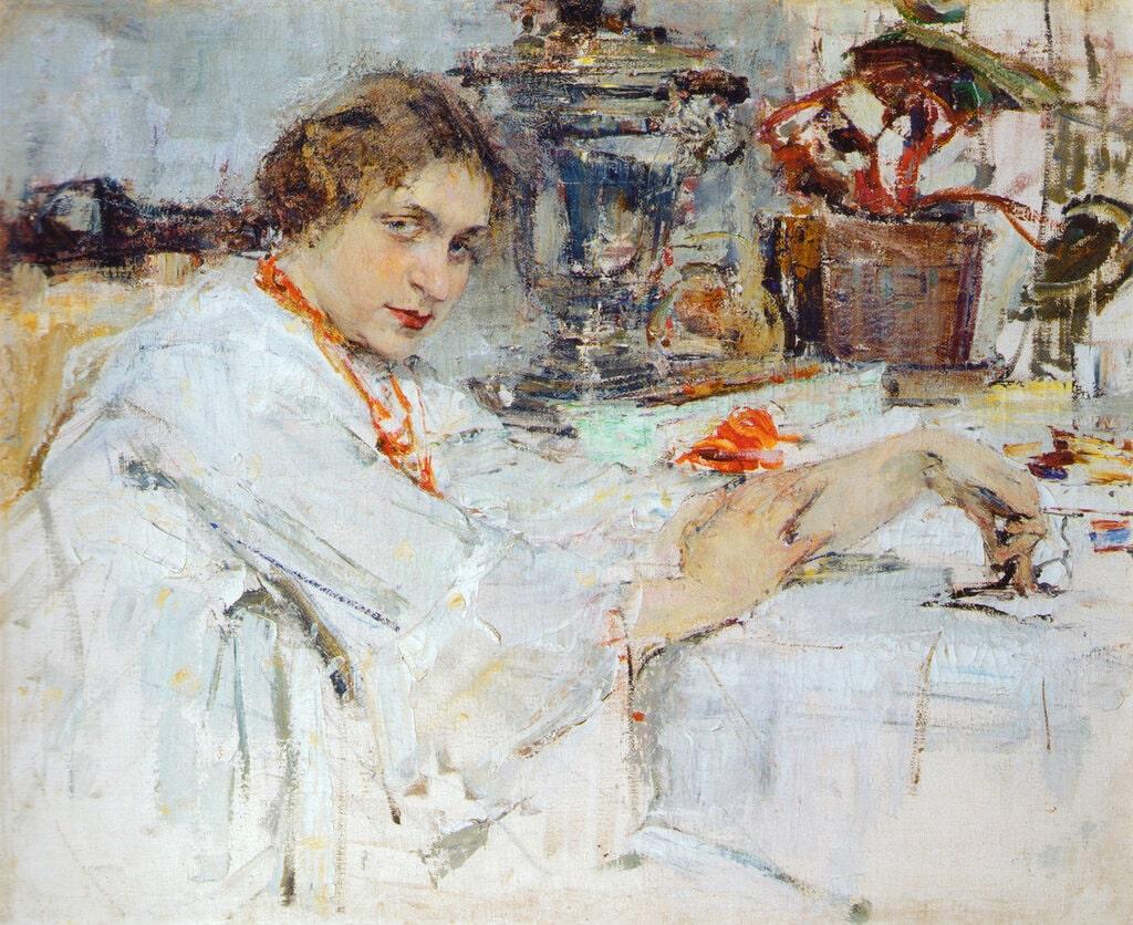 Н.И. Фешин «За самоваром. Портрет О.М.Ясеневой», 1913 © Ельцин Центр